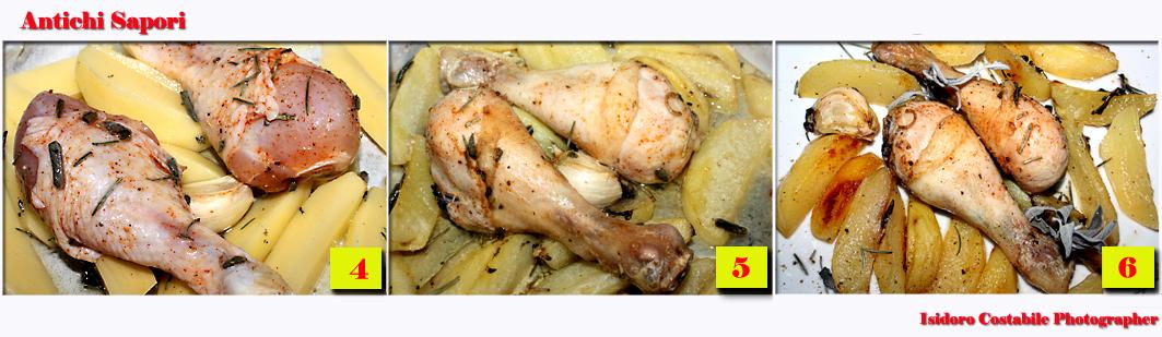 Fusi di pollo al forno con patate.