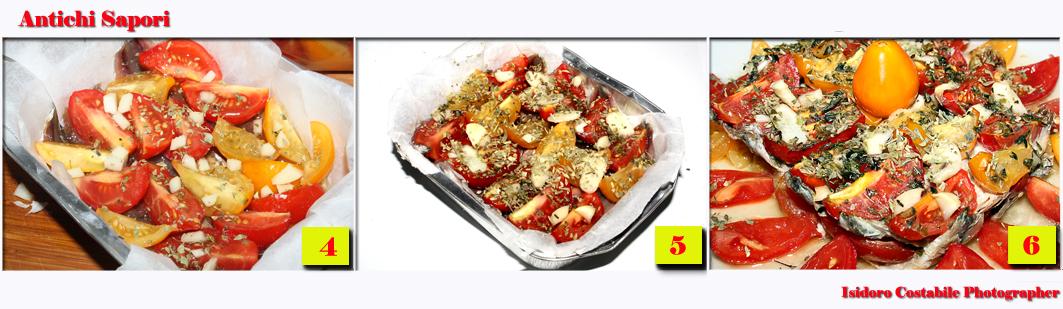 Alici alla pizzaiola con mix di pomodori.