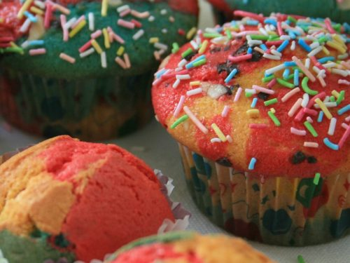 Muffin arlecchino, Ricetta di carnevale
