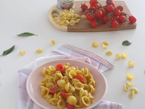 Orecchiette zucca tonno e pomodorini