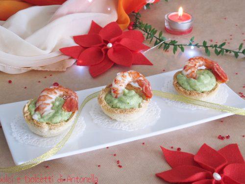 Cestini con crema di zucchine e gamberoni