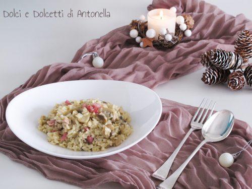 Risotto con pancetta e funghi