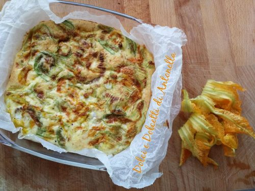 Frittata con fiori di zucca, Ricetta semplice