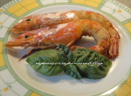 Gamberoni in crosta di basilico (ricetta semplice e veloce)