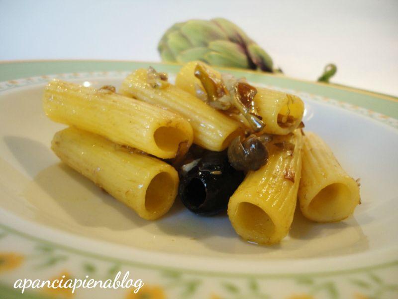rigatoni carciofi e olive a pancia piena