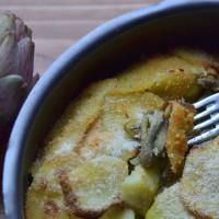 teglia di patate con carciofi a pancia piena