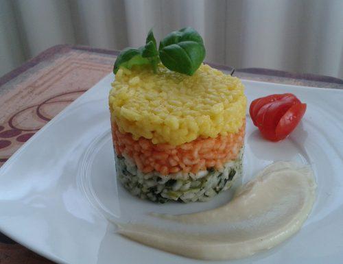 Torretta di risotti e fonduta di parmigiano