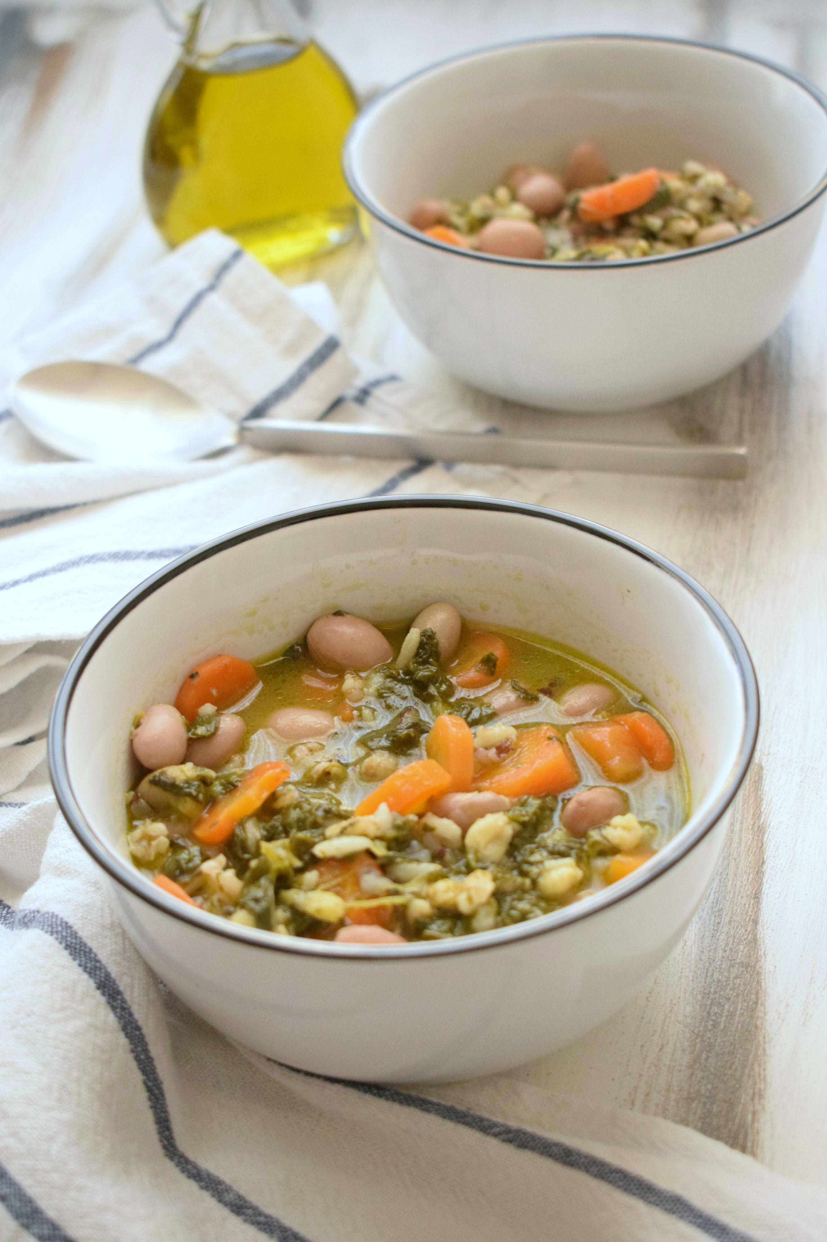 minestra spinaci carote fagioli