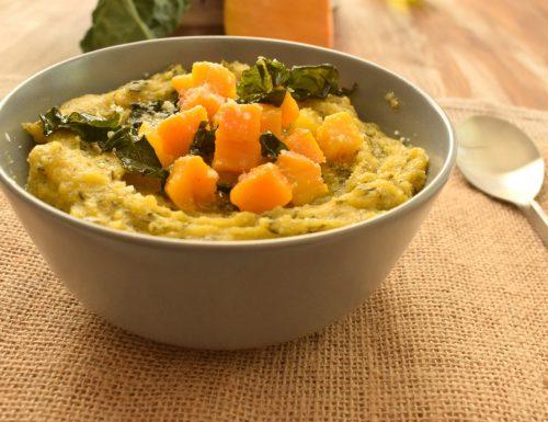 Zuppa di polenta con cavolo nero e zucca