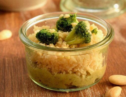 Couscous con crema di melanzane e cime di broccoli