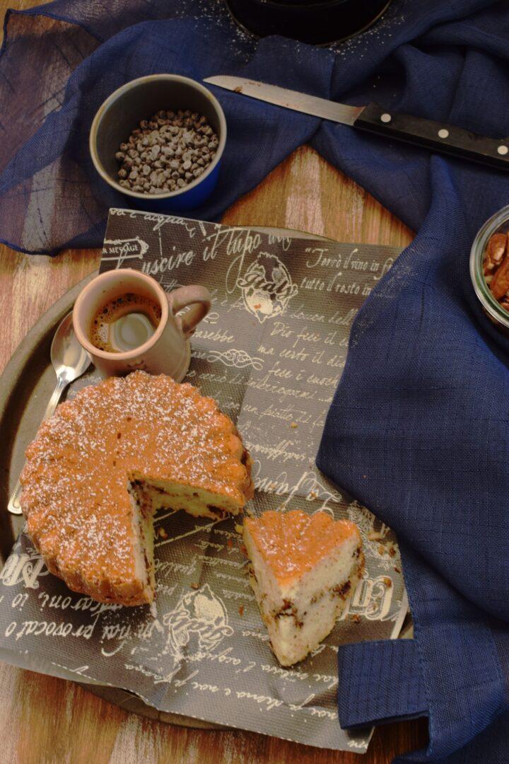 Torta con polvere al caffè e cioccolato