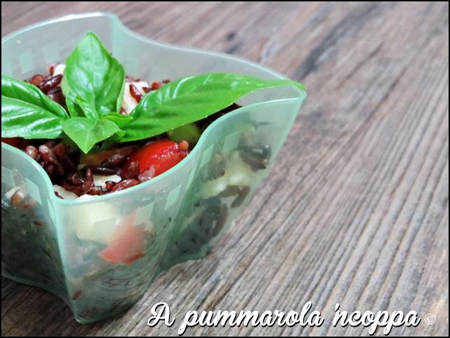 Coppetta di riso e verdure pomodoro rucola formaggio ricetta A pummarola 'ncoppa blog cucina