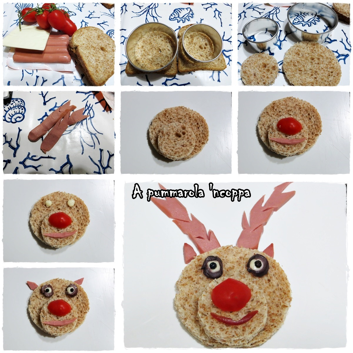 Cervo sandwich arte in tavola blog cucina giallo zafferano A pummarola ncoppa ricetta per bambini pan carrè wurstel