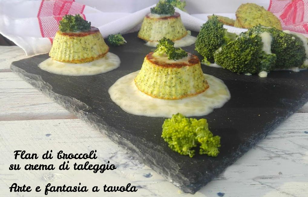 Flan di broccoli su crema di taleggio