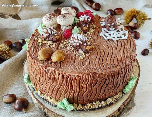 Torta tronco autunnale con crema di castagne