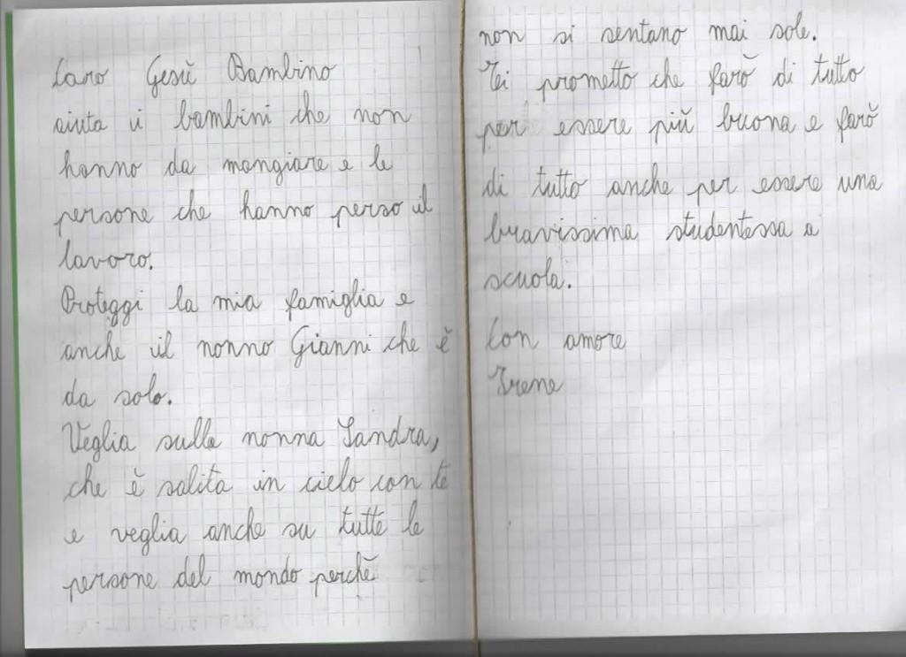 Lettera a Gesù Bambino da Irene