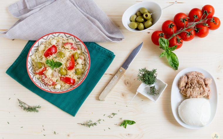 Cous Cous con Verdure Crude Tonno e Mozzarella