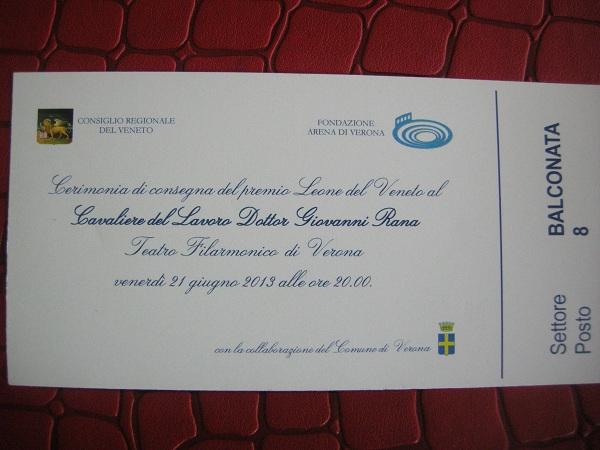 Leone del Veneto al Cavalier Giovanni Rana