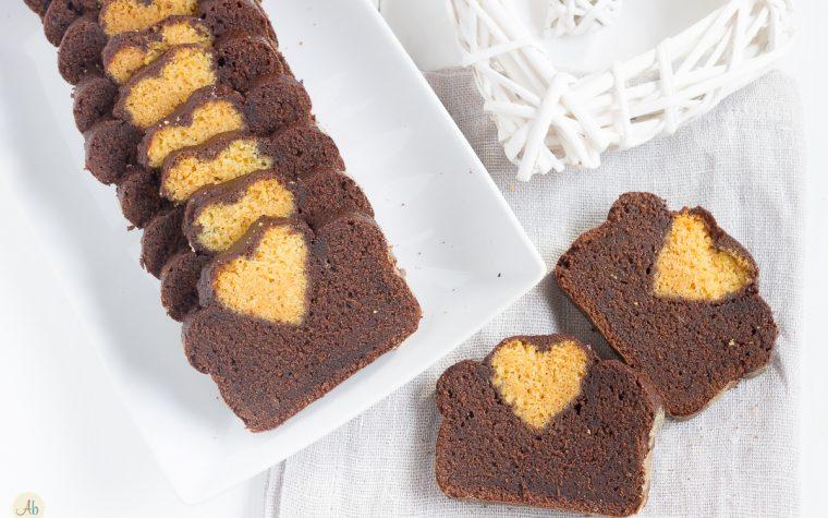 Plumcake col Cuore – variegato miele e cacao