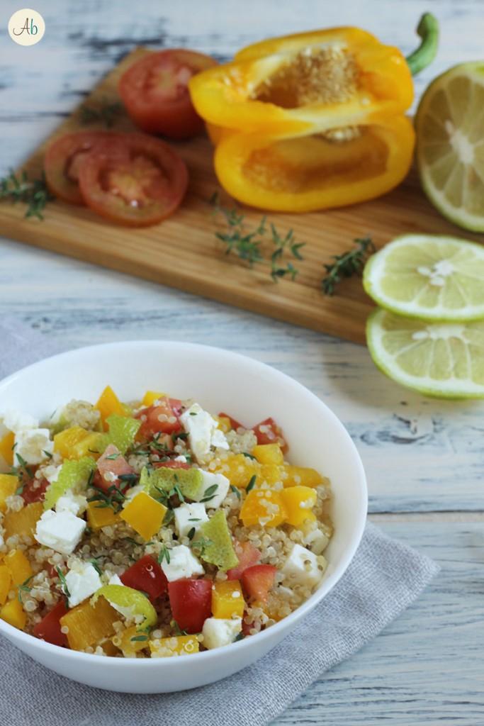 Insalata di quinoa feta e limone verde