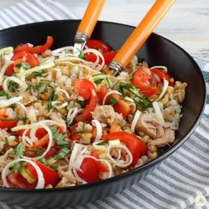 insalata ai 5 cereali con tonno e porro