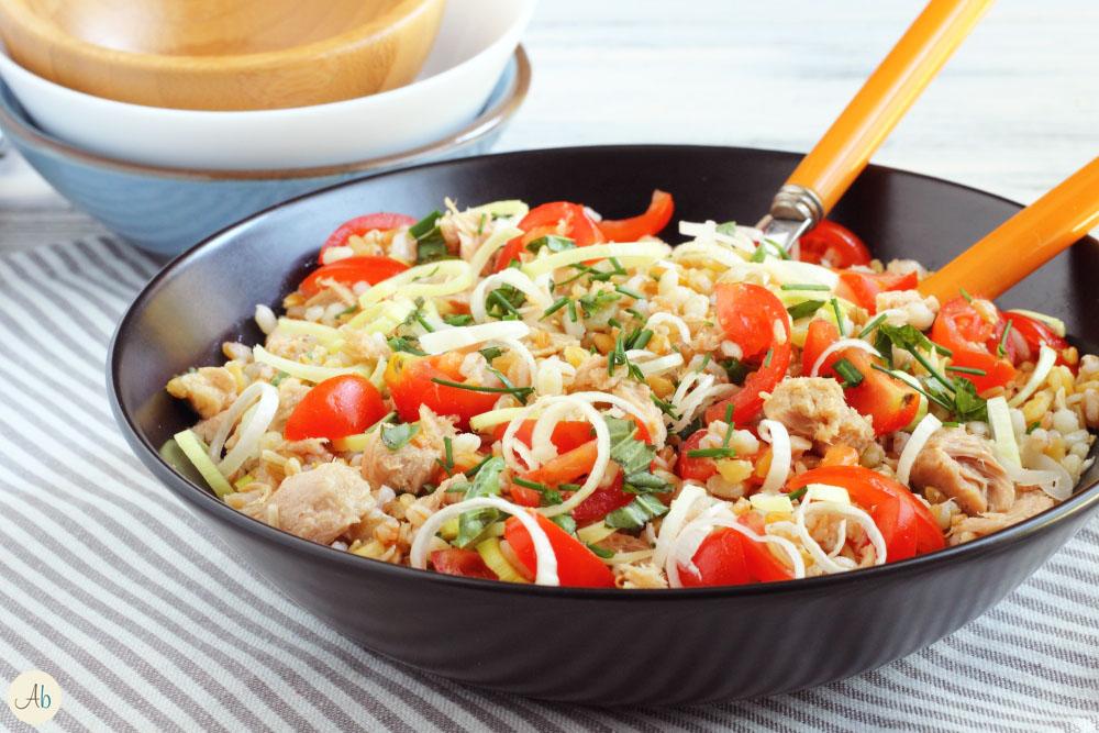 insalata di 5 cereali con tonno e porro