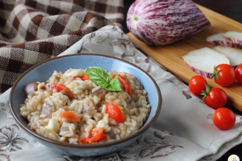 Risotto Melanzane Pomodori e Mozzarella