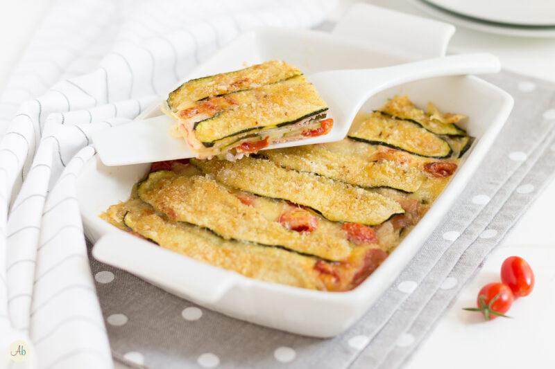 Lasagna di zucchine con prosciutto