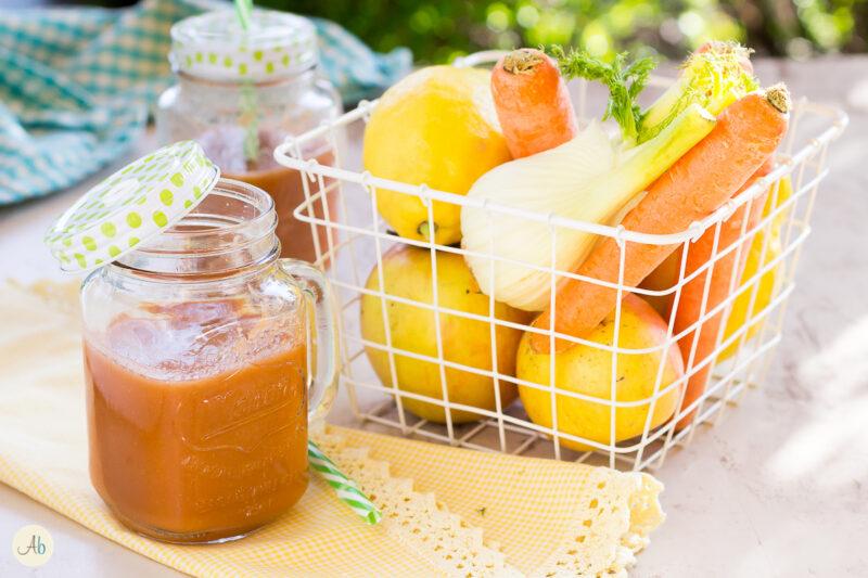 Centrifugato di finocchio, carote e mela
