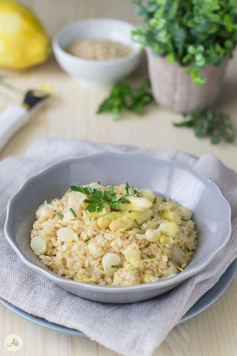 risotto integrale agli asparagi bianchi