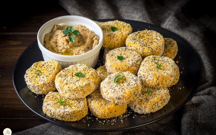 Crocchette di miglio e zucca con hummus di ceci e pomodori secchi