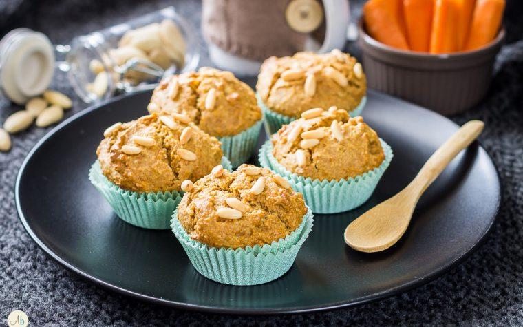 Muffin carote e mandorle vegan con malto