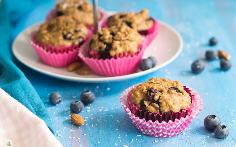 Muffin integrali vegan ai mirtilli