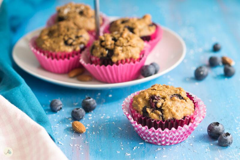 Muffin integrali vegan ai mirtilli