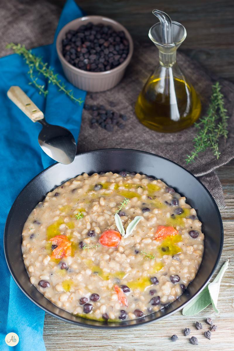 Saporitissima, dal profumo intenso, una zuppa antica con un legume insolito e poco conosciuto soprattutto al nord... vi presento i ceci neri, ottimi con il farro e l'orzo !