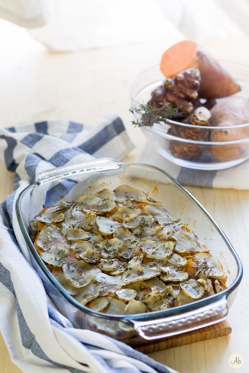 Topinambur e batata al forno