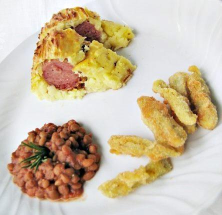 Cotechino in crosta con lenticchi e cardi