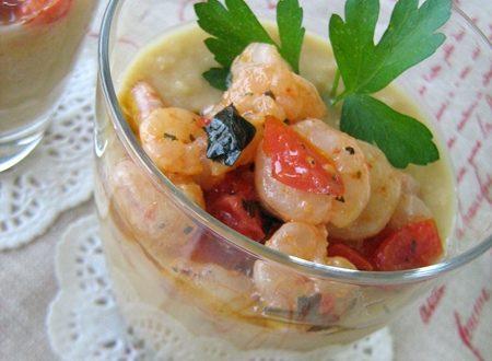 CECI  IN CREMA CON GAMBERETTI E DATTERINI Ricetta antipasto/aperitivo