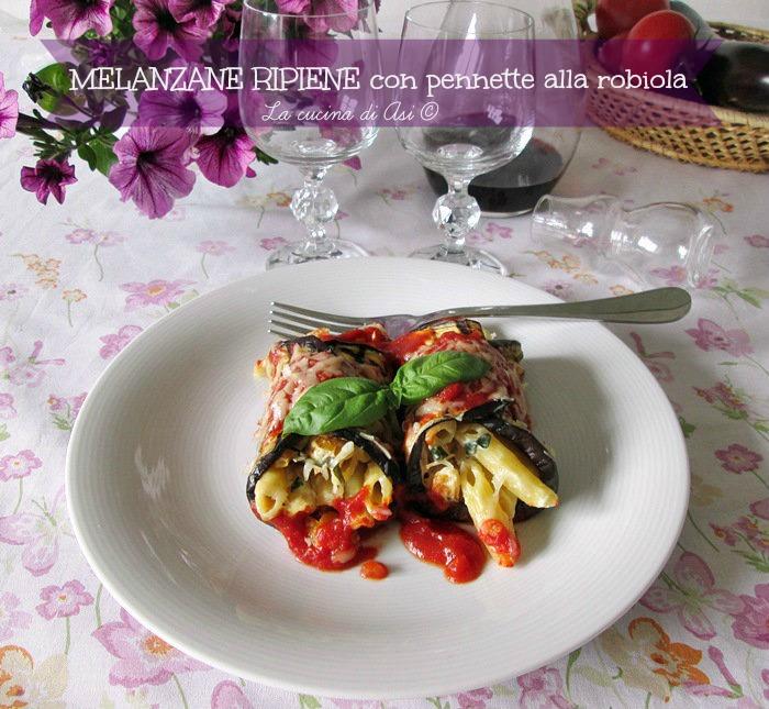 melanzane ripiene con pennette robiola basilico La cucina di ASI