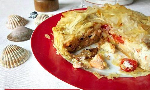 TORTA  PASTA FILLO CON PESCE MISTO  Torta salata di pesce
