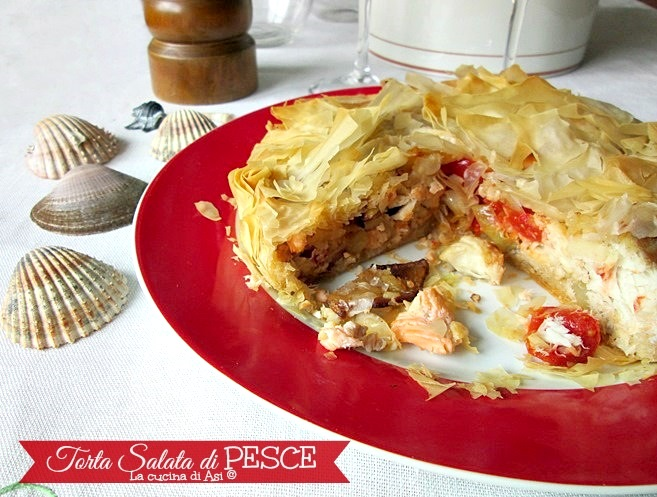 TORTA IN PASTA FILLO CON PESCE MISTO  Torta salata di pesce