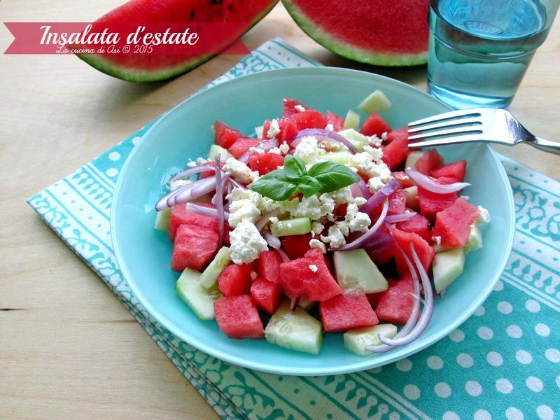 insalata di anguria cetrioli cipolla rossa feta La cucina di ASI