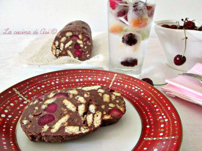 il salame al cioccolato con ricotta e ciliegie blog La cucina di ASI