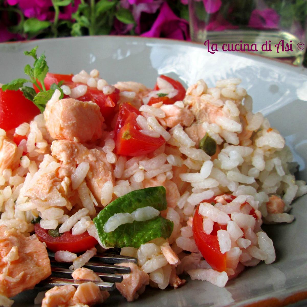 insalata riso salmone capperi menta pomodorini blog La cucina di ASI FB