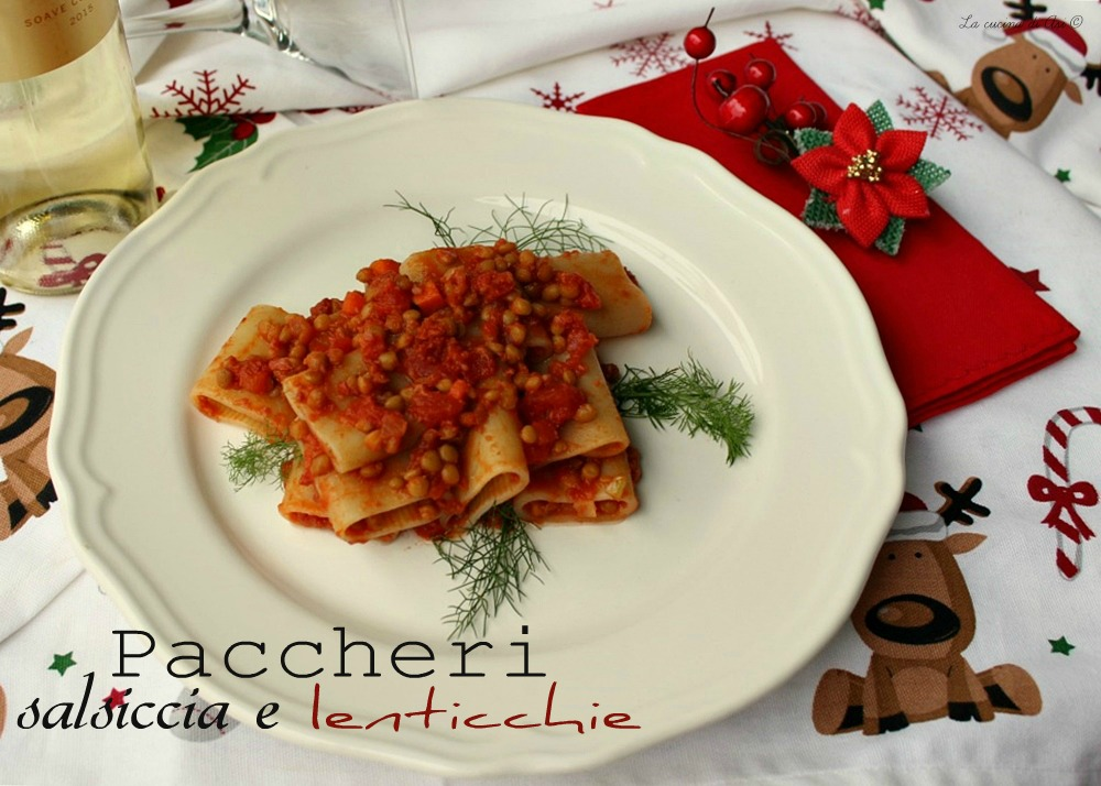 paccheri salsiccia e lenticchie
