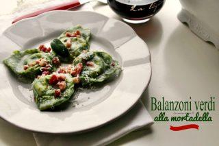 Balanzoni verdi alla mortadella