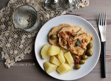 Fesa di tacchino con olive e prosciutto