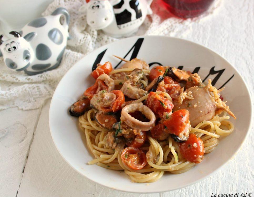 Spaghetti con totani ripieni