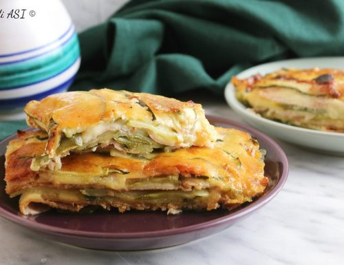 Teglia di zucchine prosciutto e mozzarella