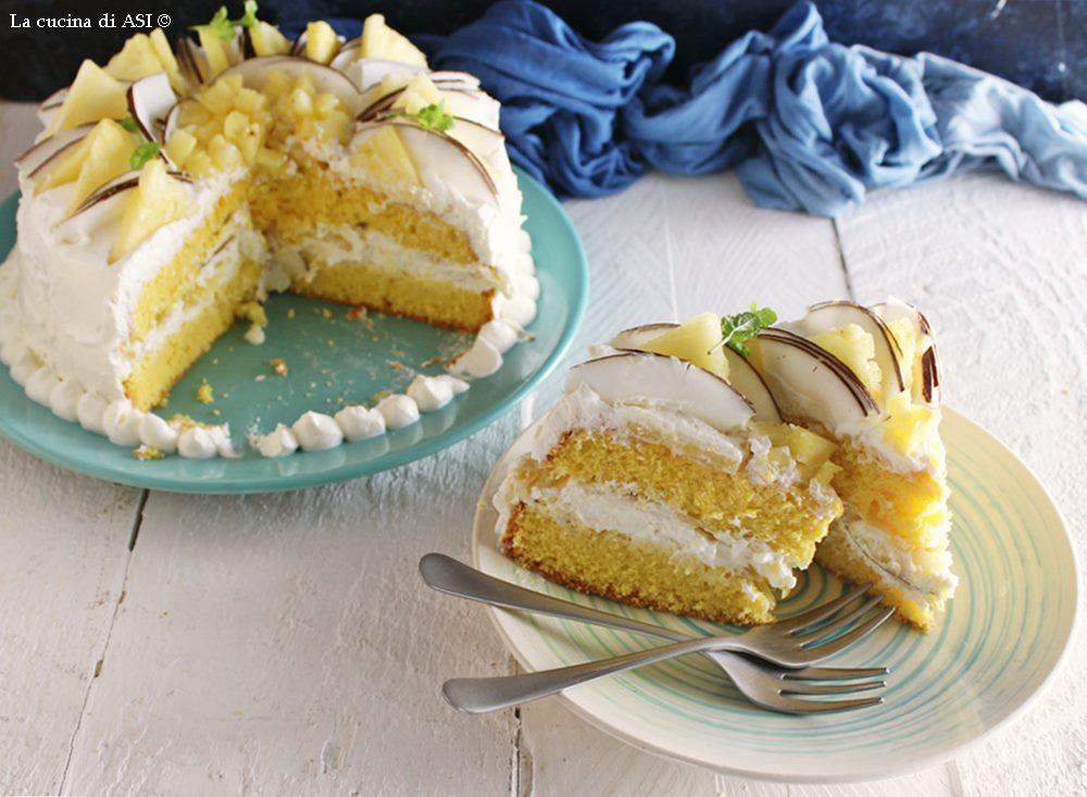 Torta golosa con cocco e ananas